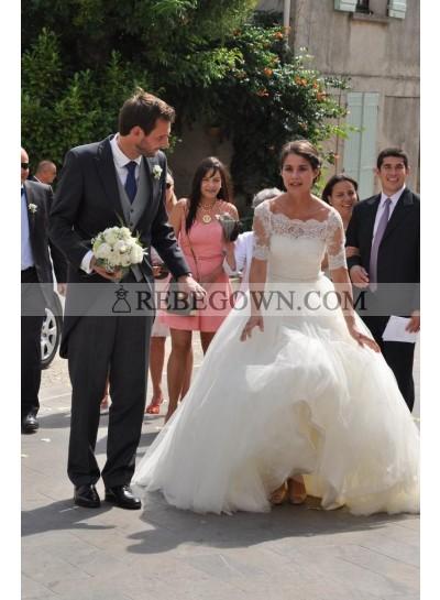 2021 Elegant A Line Tulle Off Shoulder Lace Wedding Dresses With Short Sleeves