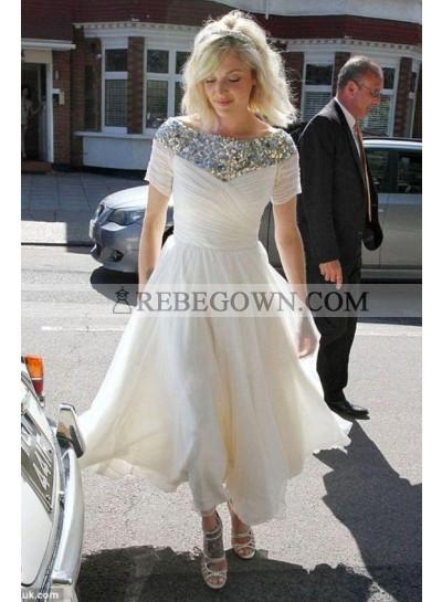 2021 Cheap Chiffon A Line Pleated Beaded Floor Length Short Wedding Dresses With Short Sleeves