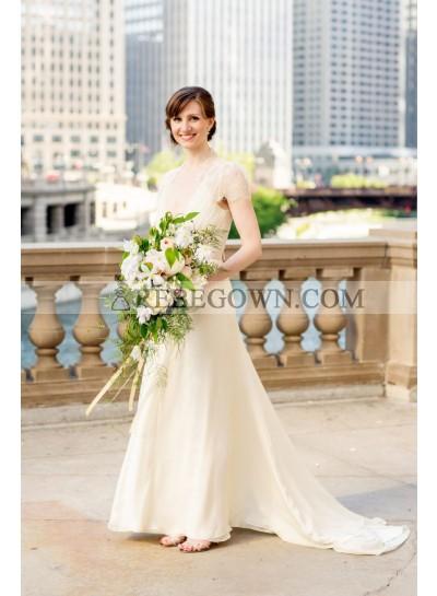 2021 Elegant A Line Deep V Neck Chiffon Lace With Short Sleeves Wedding Dresses