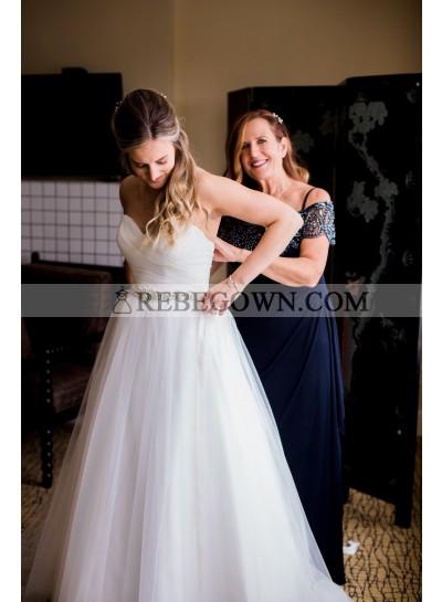 2021 Elegant A Line White Tulle Sweetheart Beaded Belt Wedding Dresses