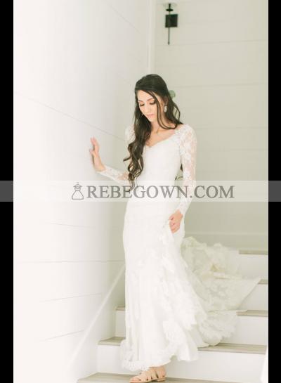 Amazing Sheath Long Sleeves V Neck Long Train Lace Wedding Dresses 2021