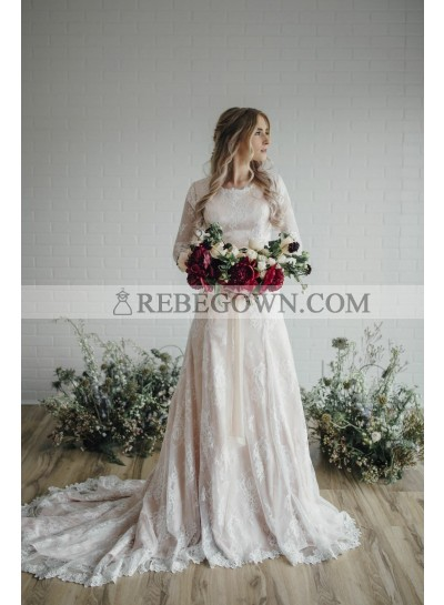 2021 Elegant A Line Long Sleeves Lace Long Round Neck Wedding Dresses