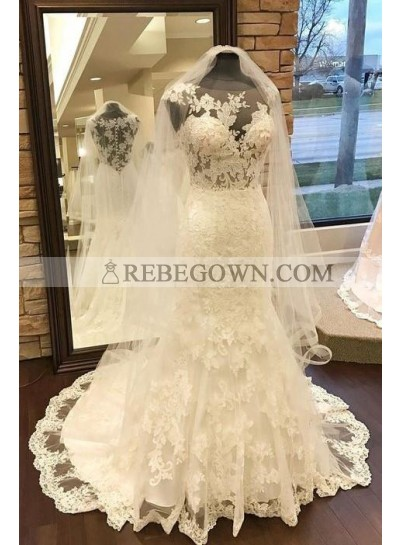 2021 New Arrival Sheath Sweetheart Lace Round Neck Wedding Dresses