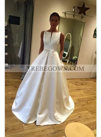 A Line Classic Satin Bateau Bowknot Long Wedding Dresses 2021