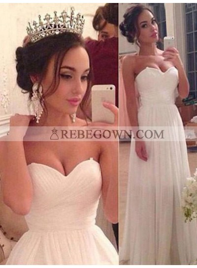 2021 Cheap A Line Sweetheart Chiffon Floor Length Beach Wedding Dresses