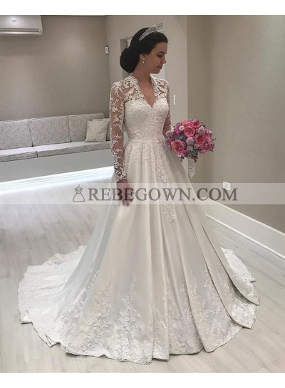 2020 A Line Classic Satin Long Sleeves V Neck Lace Long Wedding Dresses