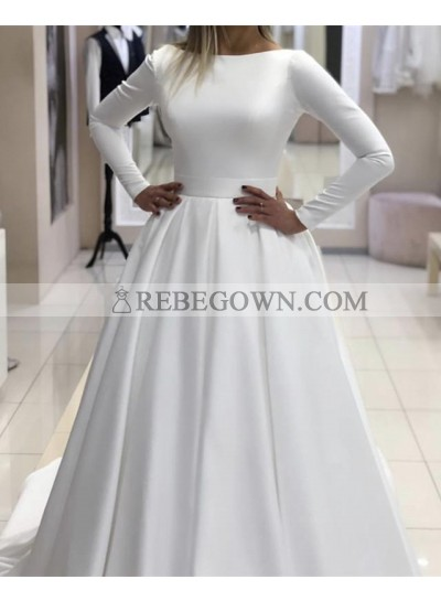 2021 Classic A Line Long Sleeves Satin Backless Long Wedding Dresses