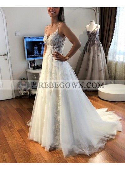 Cheap A Line Tulle Ivory Sweetheart With Straps Wedding Dresses 2020