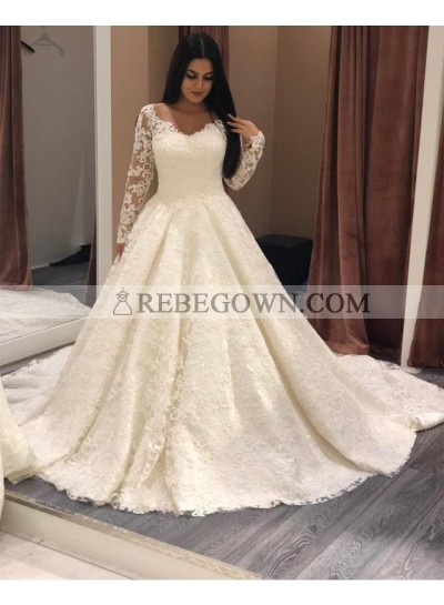 2021 Ivory A Line Long Sleeves Sweetheart Lace Long Wedding Dresses