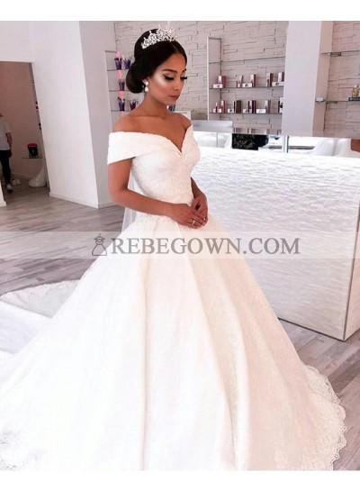 2021 A Line Elegant Off Shoulder Sweetheart Capped Sleeves Satin Long Lace Wedding Dresses