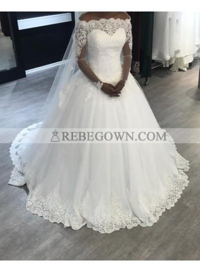 2021 A Line Elegant Lace Long Sleeves Off Shoulder Long Lace Up Back Wedding Dresses
