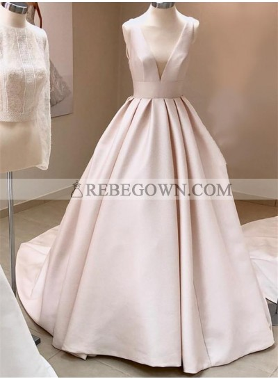 Simple A Line Deep V Neck Ivory 2021 Long Wedding Dresses