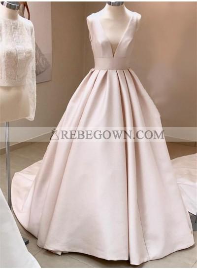 Simple A Line Deep V Neck Ivory 2021 Long Wedding Dresses
