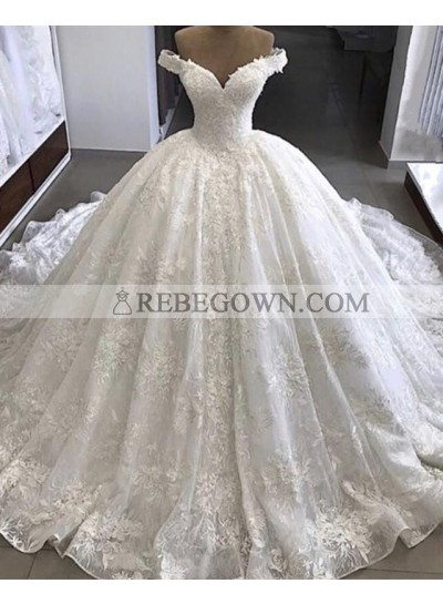 Amazing Off Shoulder Sweetheart Lace Long Ball Gown Wedding Dresses 2021