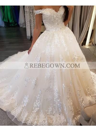 2021 New Designer Off Shoulder Sweetheart Lace Up Back Long Wedding Dresses