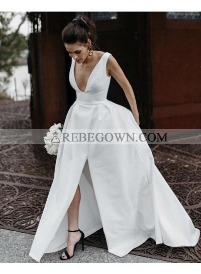 Amazing A Line Side Slit Satin V Neck Backless Long Wedding Dresses 2020