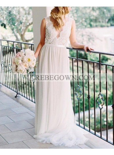 2021 Newly A Line Tulle Ivory Sweetheart Lace Outdoor Wedding Dresses