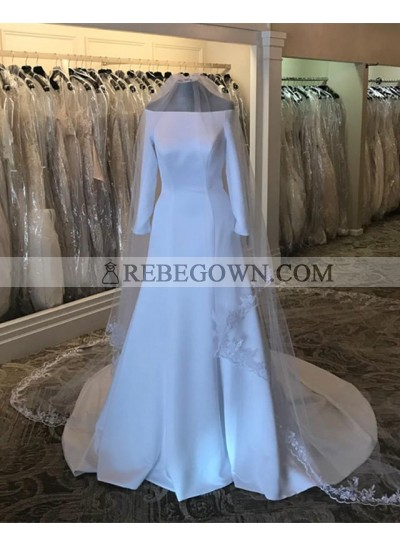 2021 New Arrival A Line Satin Off Shoulder Long Sleeves Long Wedding Dresses