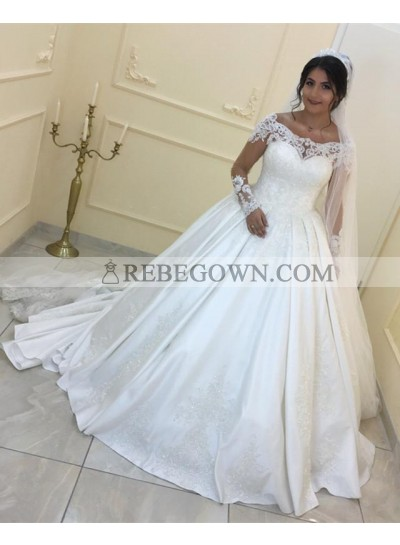 Cheap Long Sleeves Off Shoulder Satin Ball Gown Long Wedding Dresses 2021