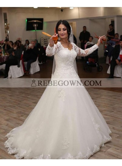 2021 Elegant A Line Sweetheart Long Sleeves Lace Long Lace Up Back Wedding Dresses