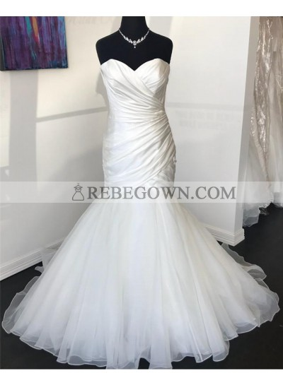 2021 Sexy Mermaid  Organza With Satin Sweetheart Pleated Wedding Dresses