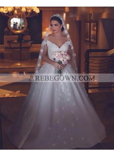 2021 Luxury A Line Off Shoulder Sweetheart Satin Flowers Long Train Wedding Dresses