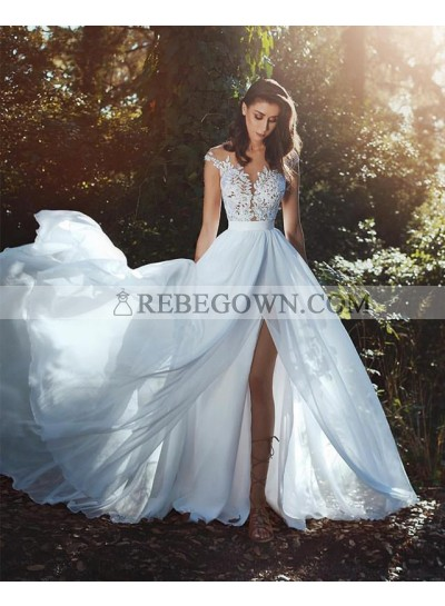 2021 New Arrival A Line Chiffon Side Slit Capped Sleeves Beach Wedding Dresses