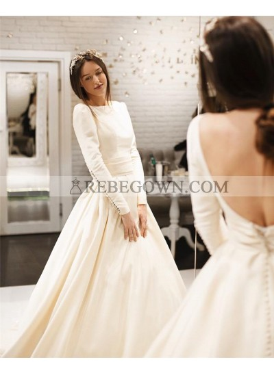 2021 Elegant A Line Satin Long Sleeves Backless Long Train With Buttons Wedding Dresses