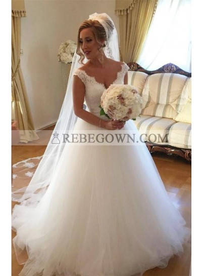 2021 Elegant A Line Tulle Sweetheart Lace Backless Long Wedding Dresses