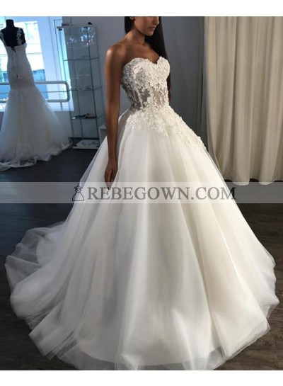 Amazing Sweetheart Tulle With Applique Ball Gown Lace Up Back Long Wedding Dresses 2021