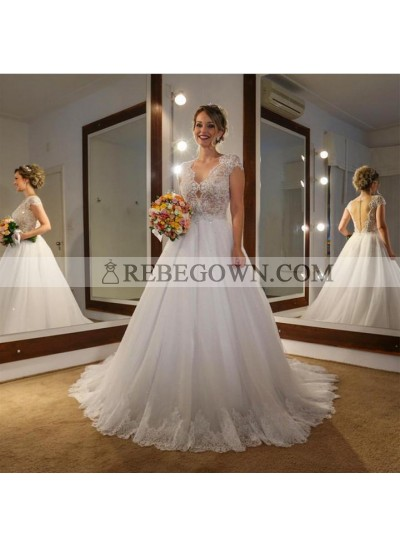 2021 Classic A Line Capped Sleeves Tulle V Neck Backless Long Wedding Dresses With Sequence