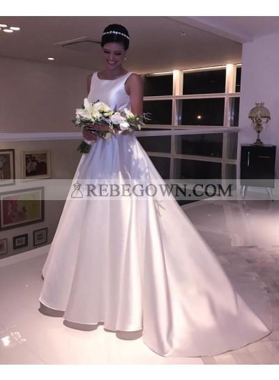 Cheap Sleeveless A Line Satin Ivory Backless Long Wedding Dresses 2021
