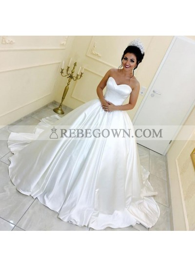 2021 Classic Sweetheart Long Train Satin Strapless Ivory Ball Gown Wedding Dresses