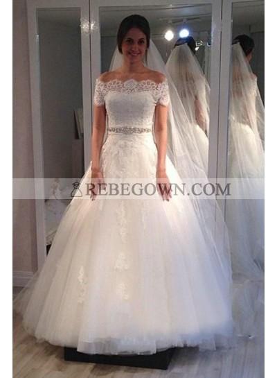 Elegant Off Shoulder Lace Tulle A Line 2021 Wedding Dresses With Short Sleeves