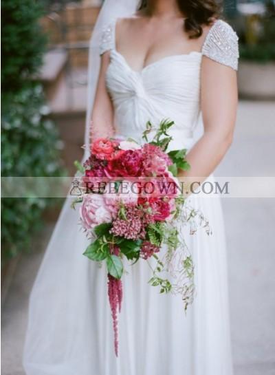 2021 Cheap A Line Sweetheart Beaded Capped Sleeves Chiffon Beach Wedding Dresses