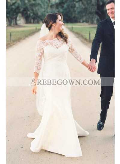 2021 Amazing Sheath Off Shoulder Long Sleeves Lace Wedding Dresses