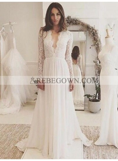 2020 Amazing A Line Deep V Neck Lace Long Sleeves Backless Wedding Dresses