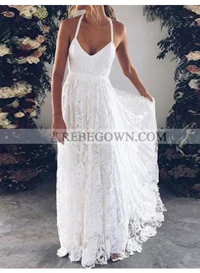 Cheap A Line Halter Sweetheart Lace Backless Beach Wedding Dresses 2020