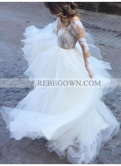 2021 New Designer A Line Tulle Long Sleeves Lace Backless Beach Wedding Dresses