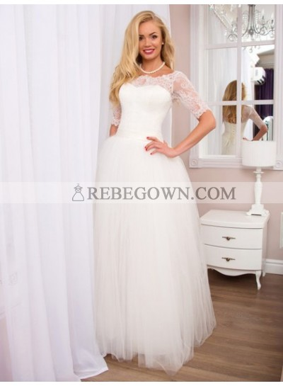 2021 Cheap A Line Tulle Off Shoulder Long Sleeves Lace Floor Length Lace Up Back Wedding Dresses