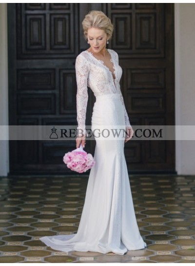 Charming Sheath Deep V Neck Long Sleeves Backless Lace 2021 Wedding Dresses