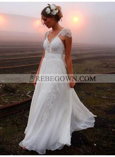 Cheap A Line Sweetheart Chiffon Capped Sleeves Backless Beach Wedding Dresses 2021
