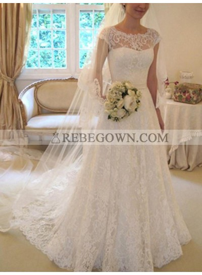 2021 Classic A Line Capped Sleeves Lace Bowknot Long Wedding Dresses