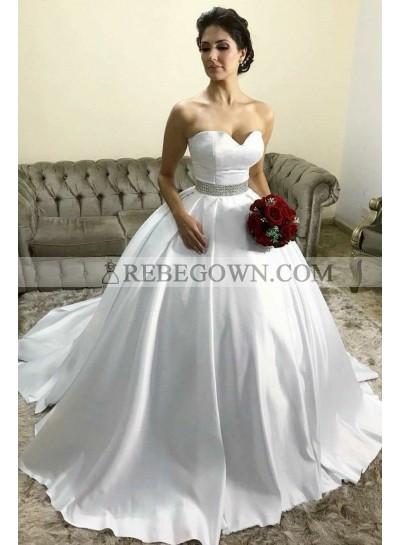 Classic Sweetheart Satin White Beaded Belt Ball Gown Princess Wedding Dresses 2021