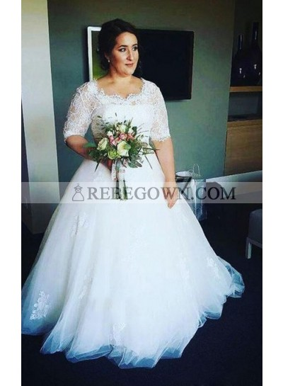 2020 New Arrival A Line Half Sleeves Tulle Round Neck Lace Plus Size Wedding Dresses
