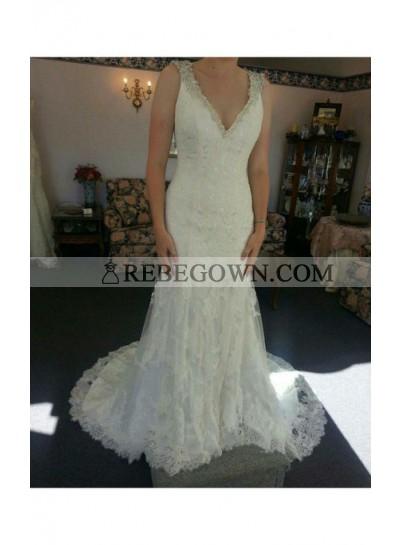 Sexy Sheath V Neck Lace Beaded Long Wedding Dresses 2021