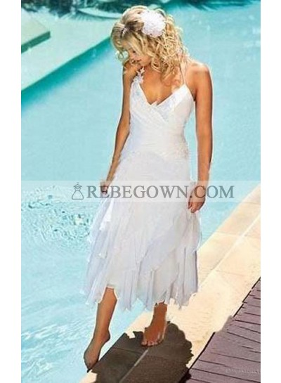 2021 New Arrival A Line Asymmetrical Sweetheart Halter Tea Length Short Wedding Dresses
