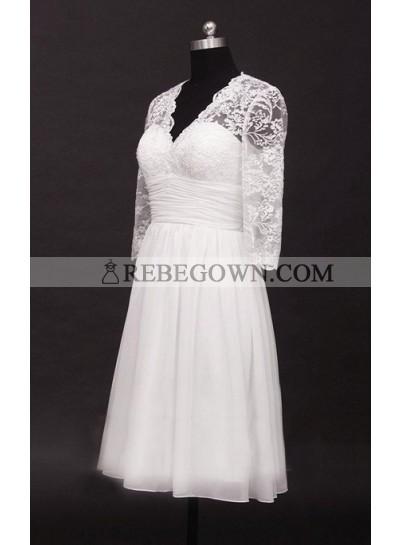 2021 A Line Cheap V Neck Long Sleeves Chiffon Knee Length Short Lace Wedding Dresses