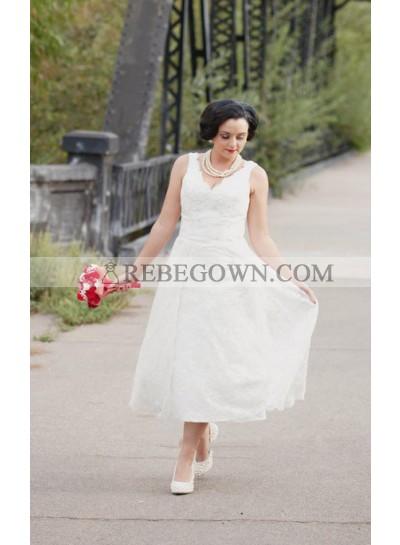 2021 Cheap A Line V Neck Lace Tea Length Classic Short Wedding Dresses