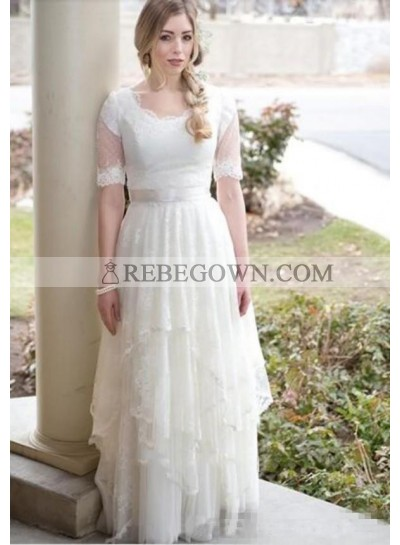 2021 Classic A Line Round Neck Half Sleeves Lace Layered Lace Up Back Beach Wedding Dresses